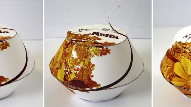 Ouverture de la boite motta, création du packaging et de son habillage graphique, Reims.